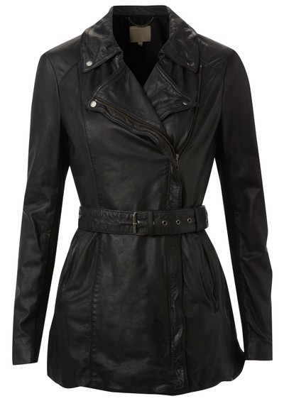 Muubaa Jena Long Leather Mac - Black main image