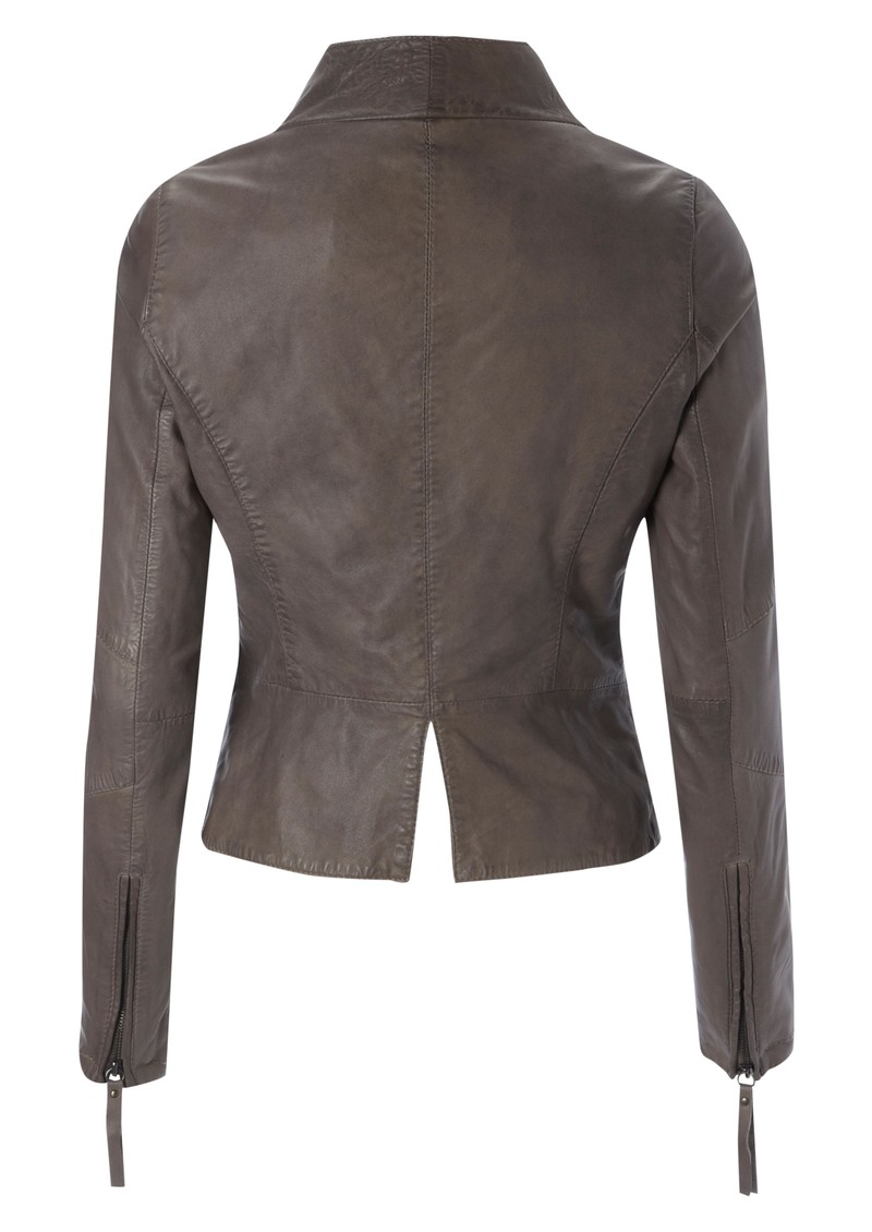 Wyona Leather Jacket - Taupe main image
