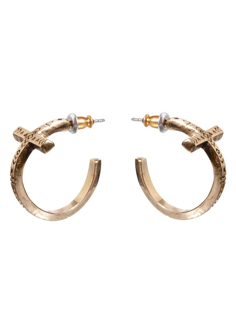 Cross Hoop Earrings - Gold main image