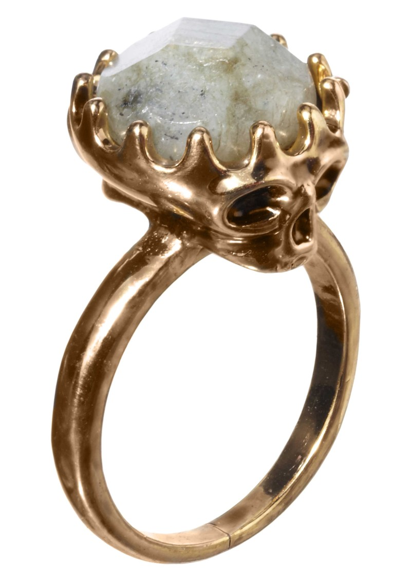 Stone Top Skull Ring - Gold main image