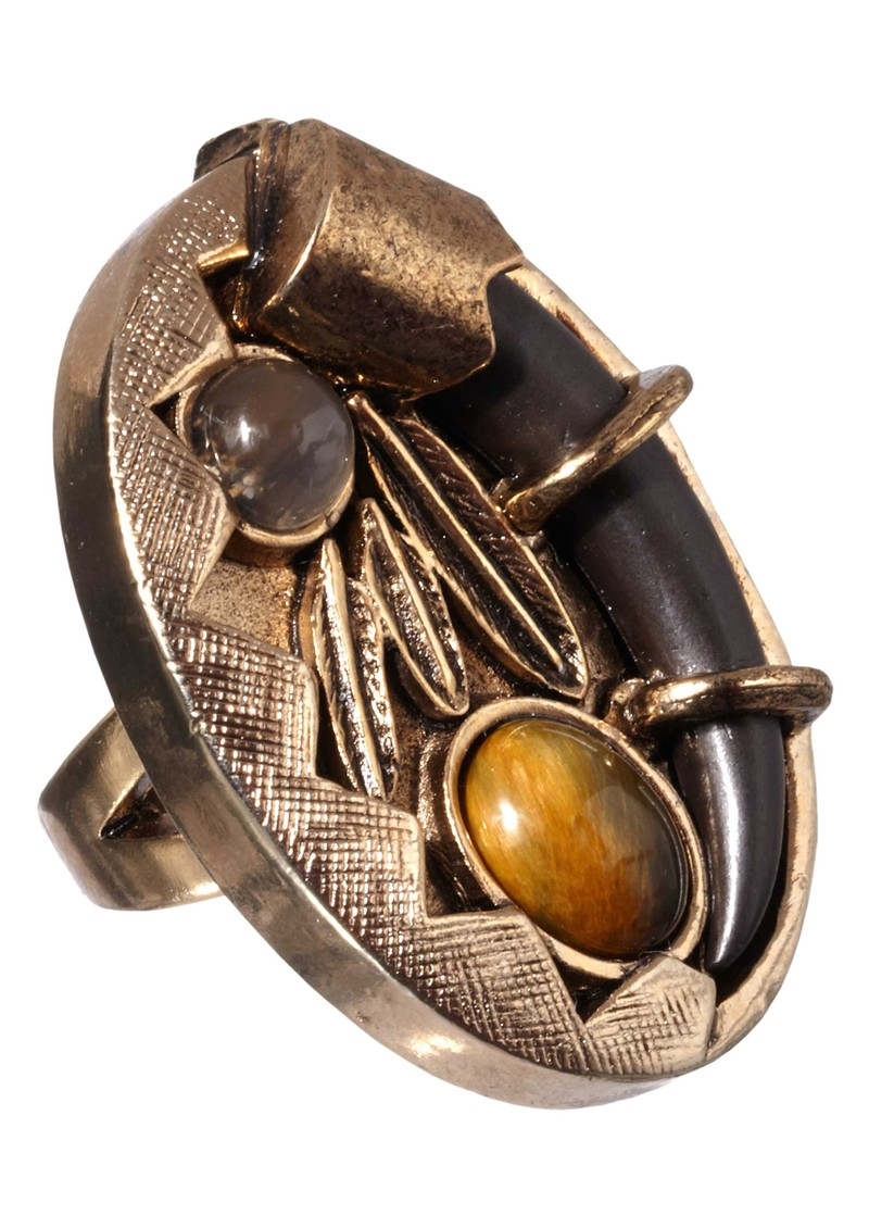 Feather and Horn Ring - Gold main image
