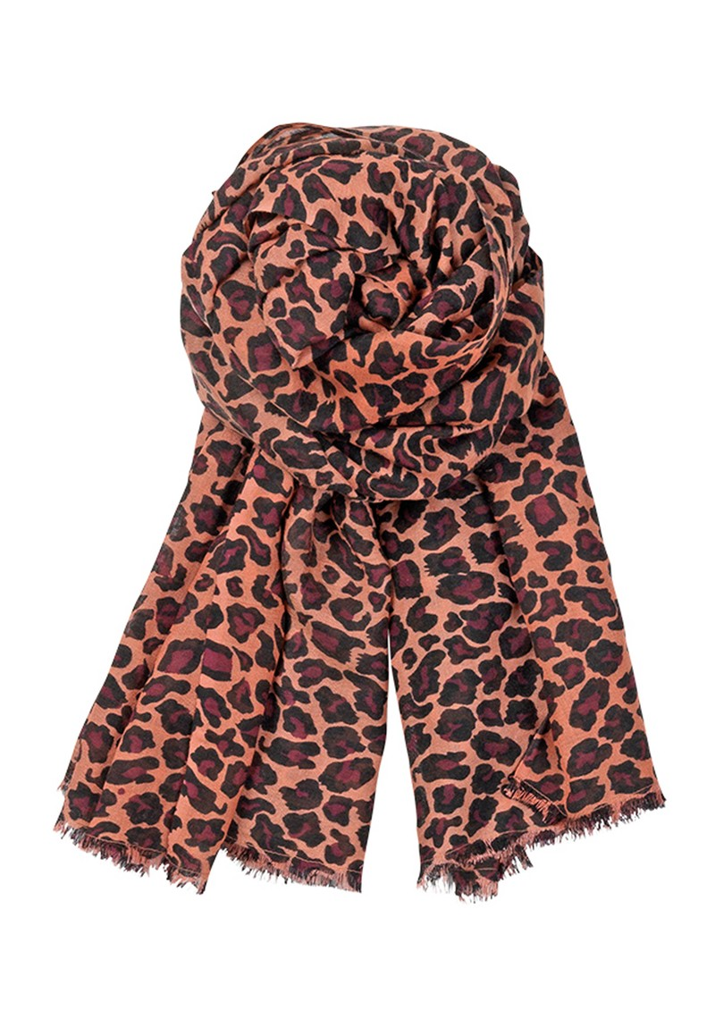 C Leopard Silk & Wool blend scarf - Pomegranate main image