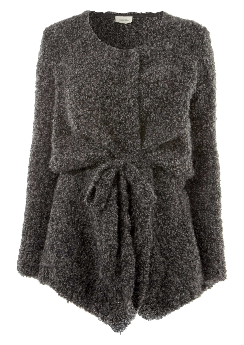 Long Wool Mix Cardigan - Charcoal main image