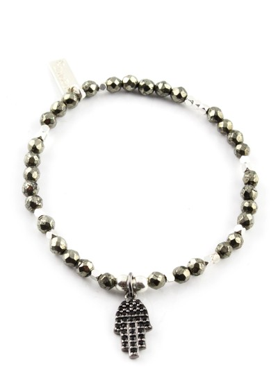 ChloBo After Dark Pyrite Bracelet with Sparkle Hamsa Hand main image