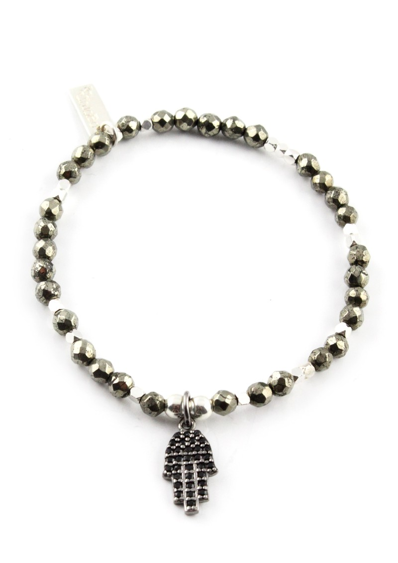 After Dark Pyrite Bracelet with Sparkle Hamsa Hand main image
