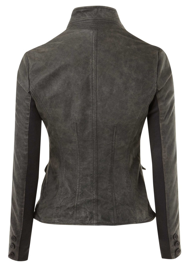 Tirana Shrunken Leather Jacket - Grey main image