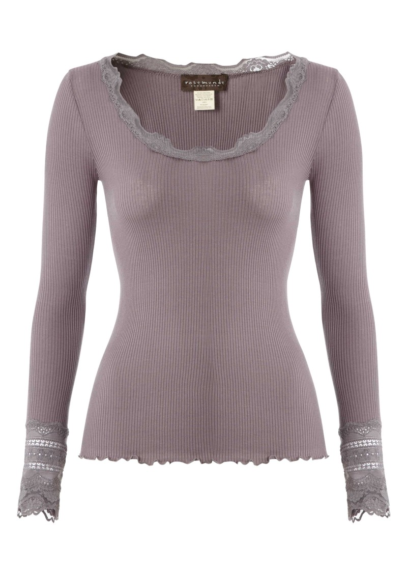 Long Sleeve Silk Blend Lace Top - Purple Grey main image