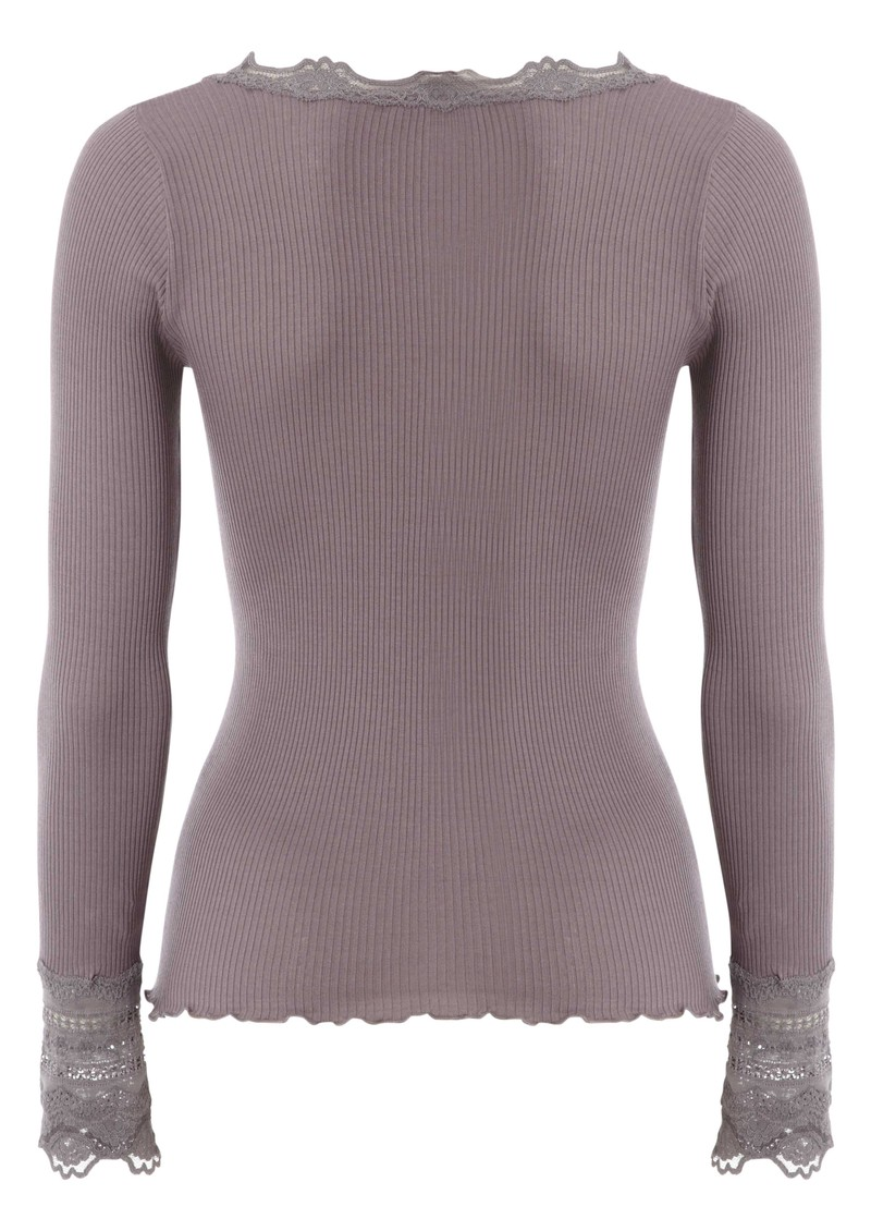 Rosemunde Long Sleeve Silk Blend Lace Top - Purple Grey main image