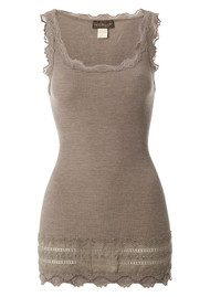 Wide Lace Silk Blend Vest - Brown Melange