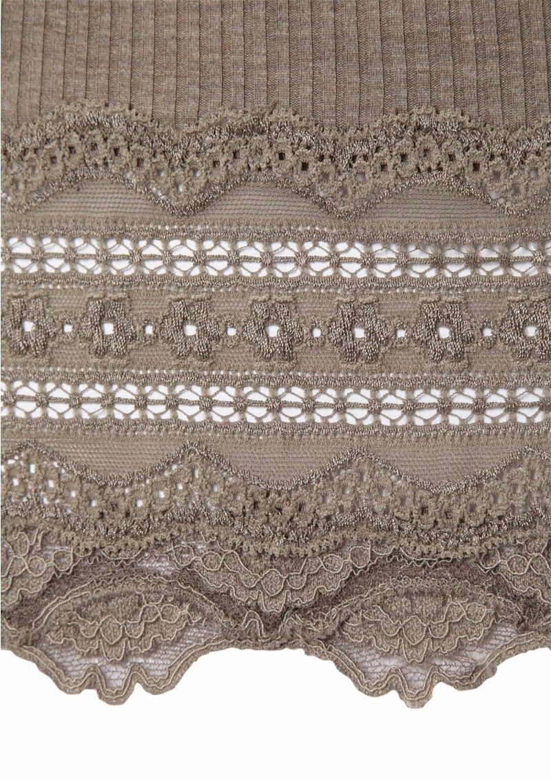 Wide Lace Silk Blend Vest - Brown Melange main image