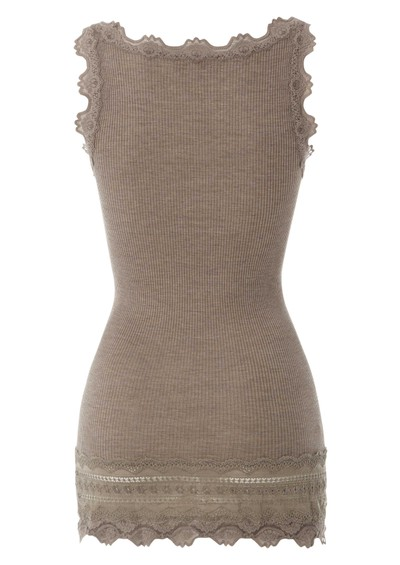 Rosemunde Wide Lace Silk Blend Vest - Brown Melange main image