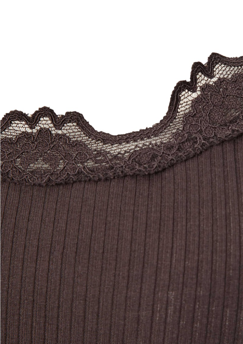 Rosemunde Silk Blend Lace Vest - Chocolate Lilac  main image