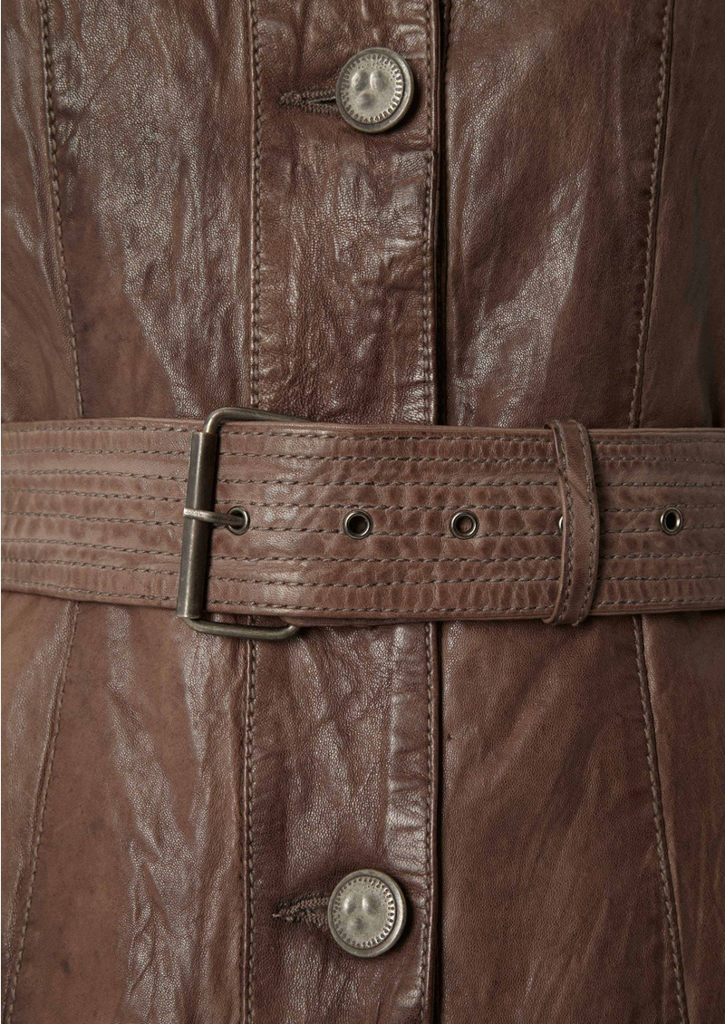 Jackie Leather Jacket - Cement main image