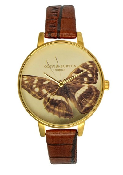 Olivia Burton Large Woodland Butterfly Watch - Brown main image