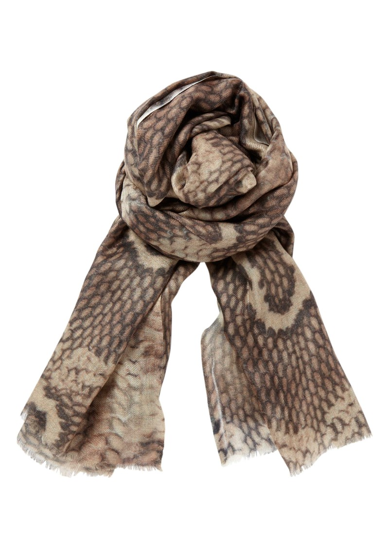 Lily and Lionel Plath Silk & Wool Mix Scarf - Taupe main image