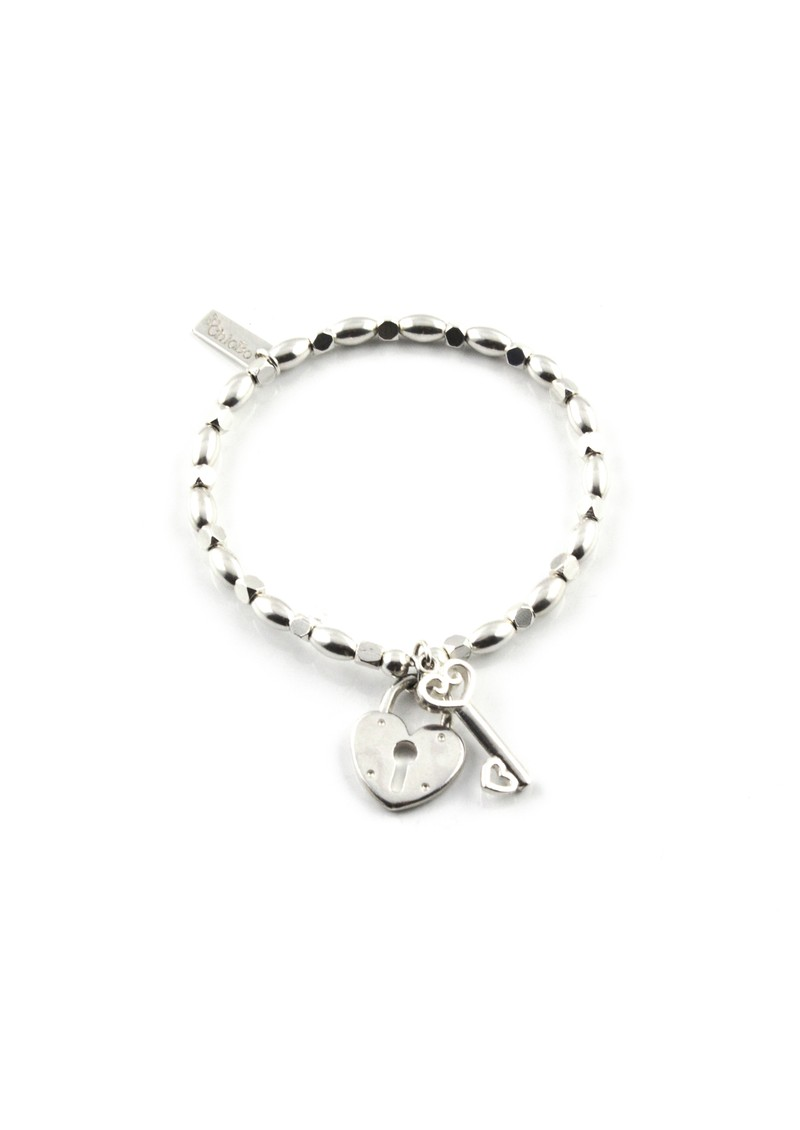 ChloBo Fancy Rice Lock and Key Charm Bracelet - Silver main image