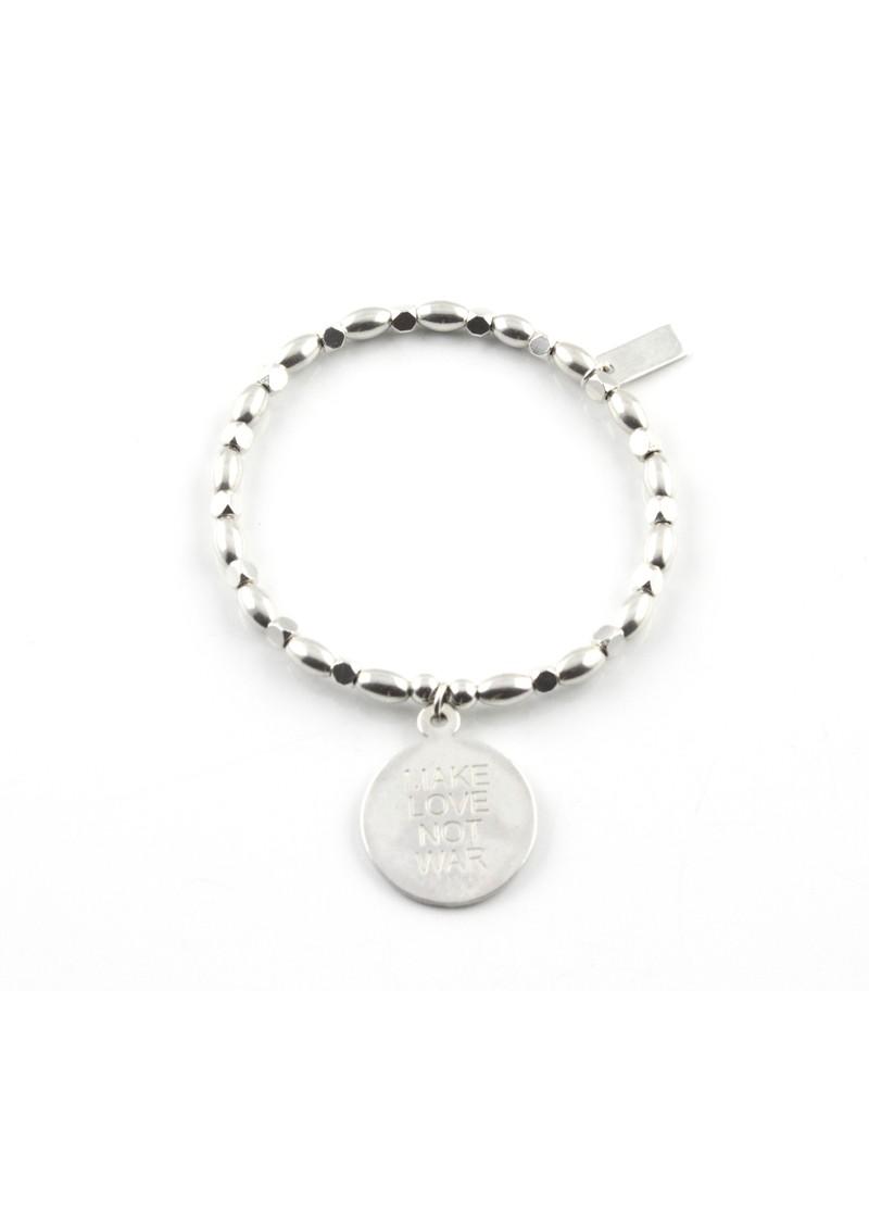 ChloBo Fancy Rice Love Not War Charm Bracelet - Silver main image