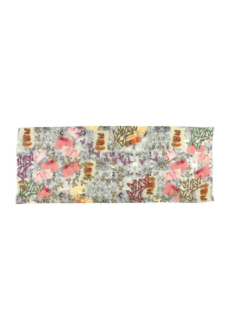 Lily and Lionel Sirani Wool Scarf - Grey Pink main image