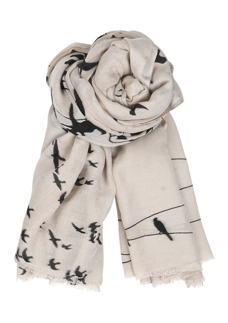 C Birds on a Wire Wool and Silk Blend Scarf - Cold Sand main image