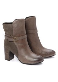 Stack Heel Ankle Boot - Grey