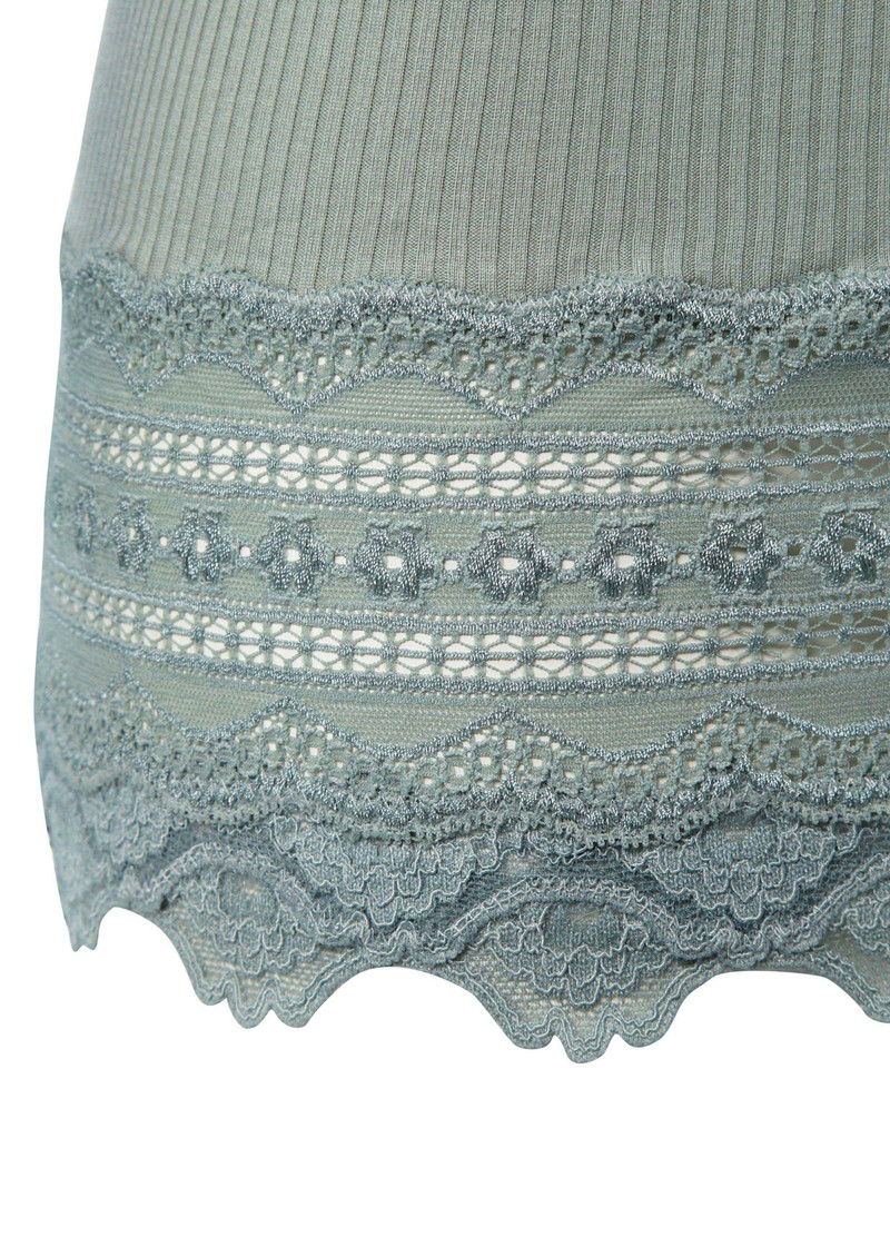 Long Sleeved Silk Blend Lace Top - Iceberg main image