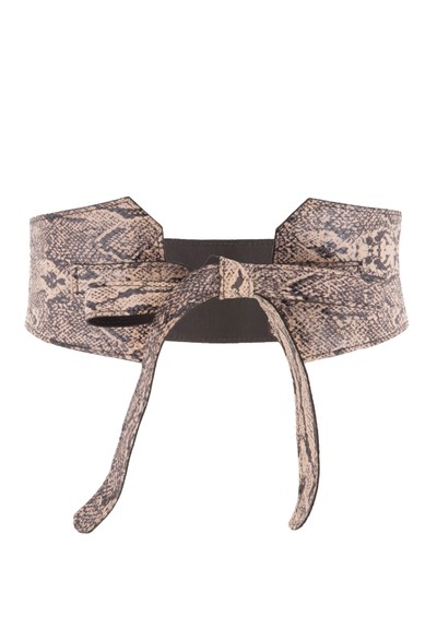 Black & Brown  Hedi Reversible Snakeskin Belt - Beige main image
