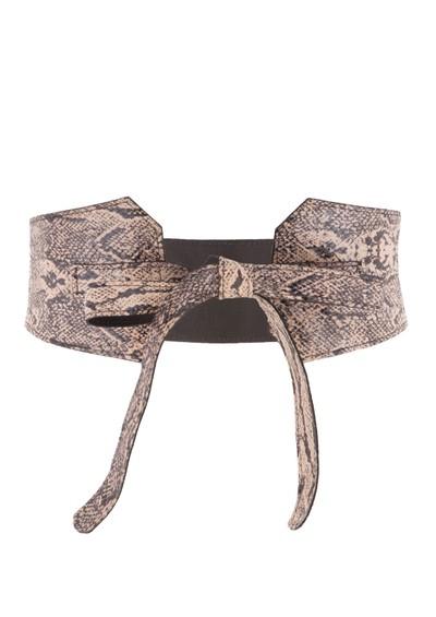 Black & Brown  Hedi Reversible Snakeskin Belt - Beige main image