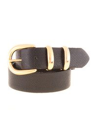 Black & Brown  Chiara Leather Belt - Black Snakeskin