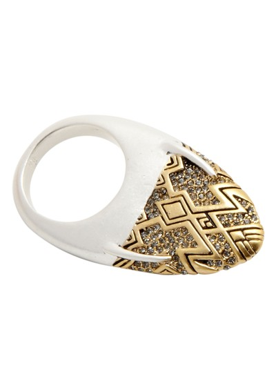 House Of Harlow Pave Dome Slice Ring - Palladium main image