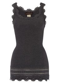 Rosemunde Wide Lace Silk Blend Vest - Dark Grey