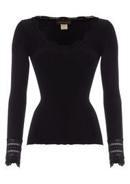 Rosemunde Long Sleeve Silk Blend Lace Top - Black