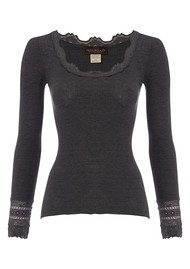 Rosemunde Long Sleeve Silk Blend Lace Top - Dark Grey