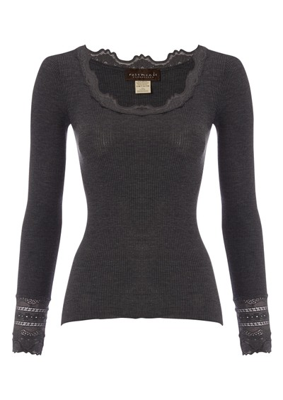 Rosemunde Long Sleeve Silk Blend Lace Top - Dark Grey main image