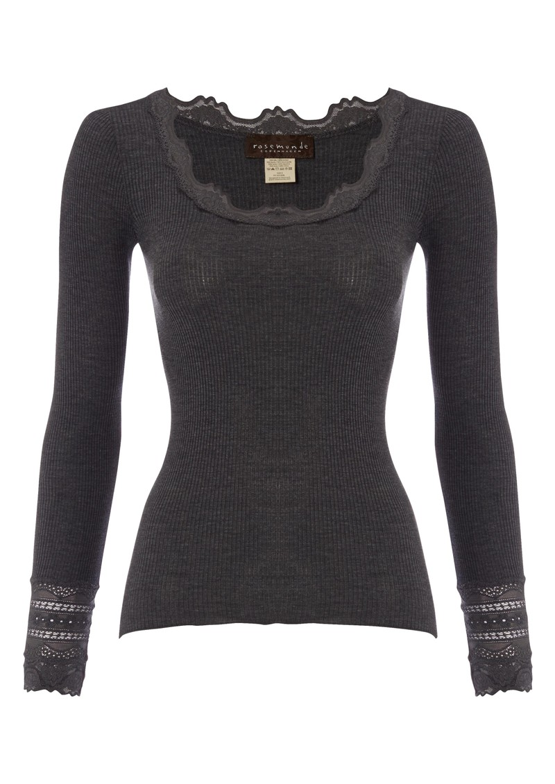 Long Sleeve Silk Blend Lace Top - Dark Grey main image