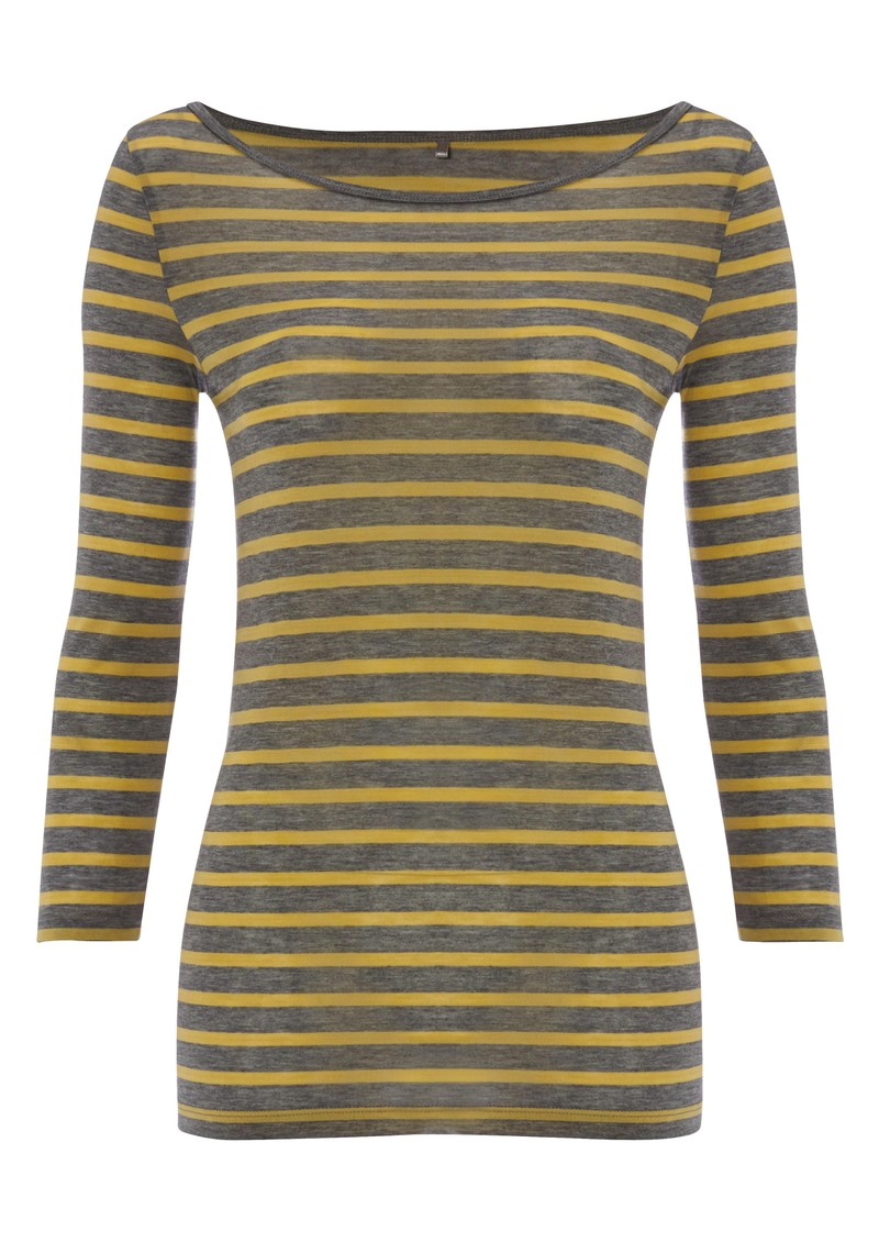 Striped Layering Top - Medium Grey Melange main image