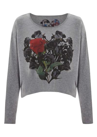 Simdog Long Sleeved Rose Tee - Grey main image