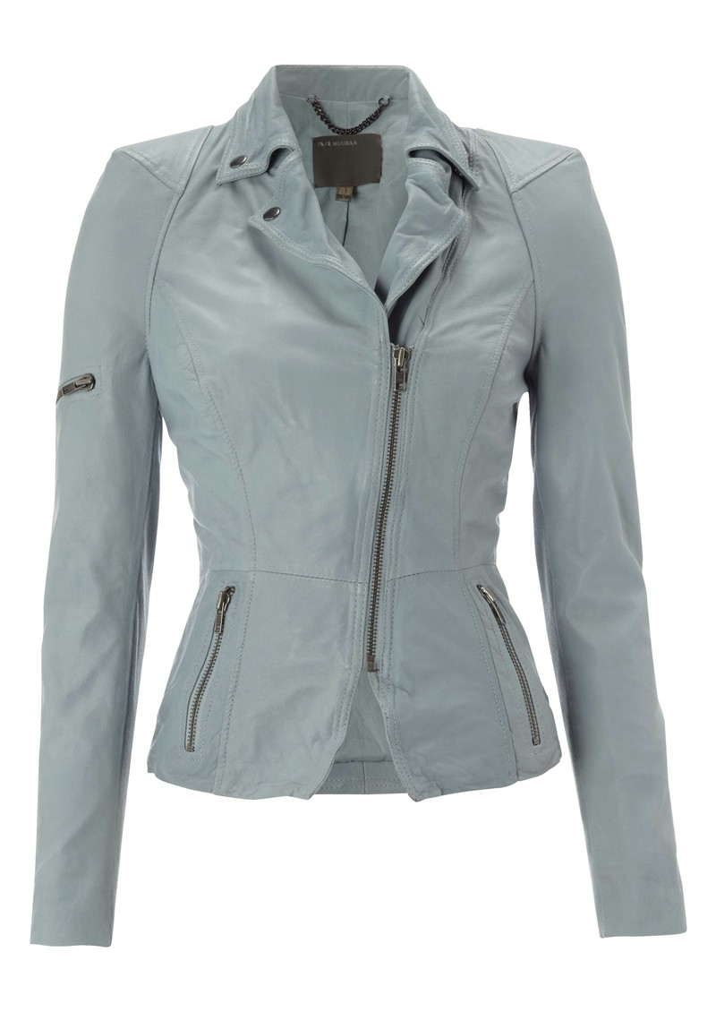 Lyra Leather Biker Jacket - Concrete main image