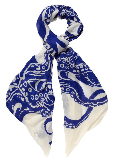 Lily and Lionel Octopus Silk & Wool Mix Scarf - Navy main image