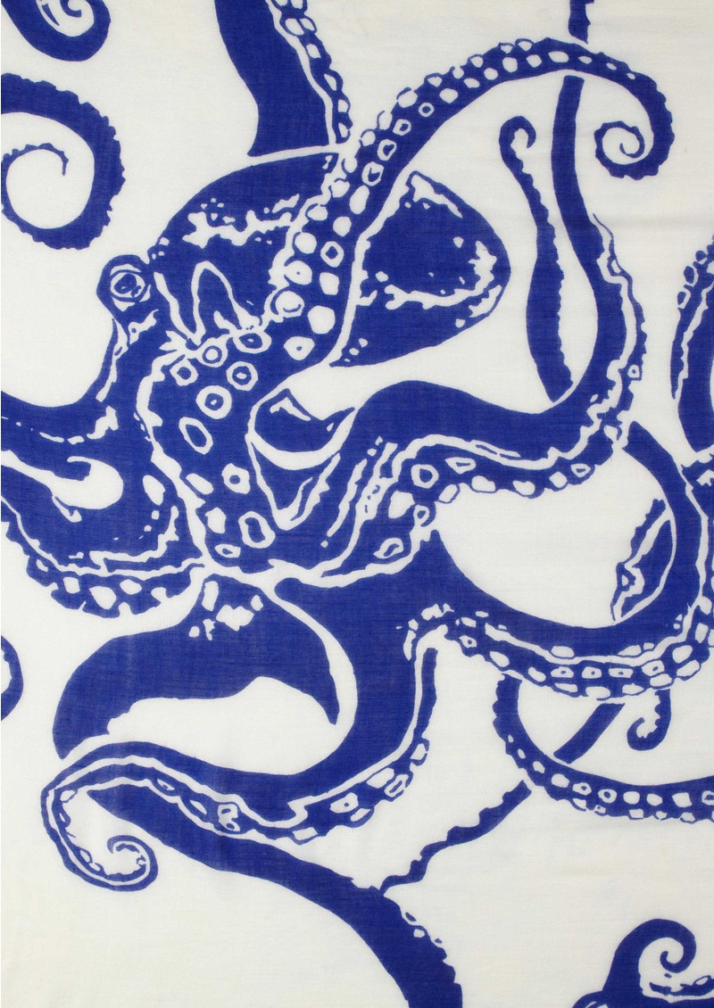 Octopus Silk & Wool Mix Scarf - Navy main image