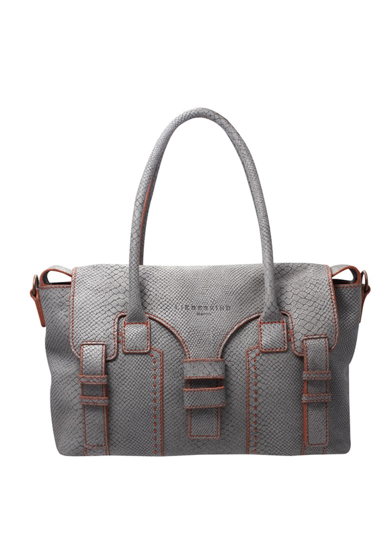 Livorno Snake Skin Handbag - Light Grey main image