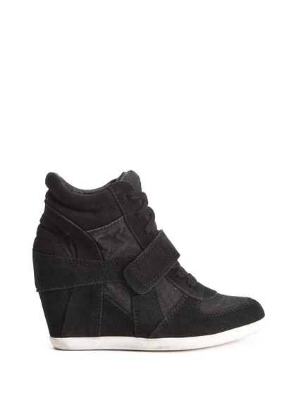 Ash Bowie Canvas and Suede Wedge Trainer - Black main image