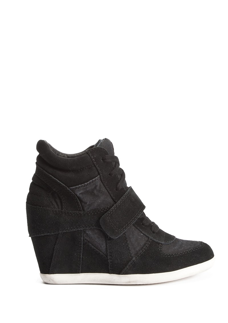 Bowie Canvas and Suede Wedge Trainer - Black main image
