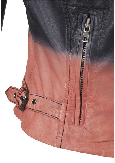Muubaa Tehmi Tie Dye Leather Jacket - Black & Coral main image