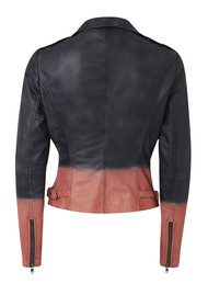 Tehmi Tie Dye Leather Jacket - Black & Coral