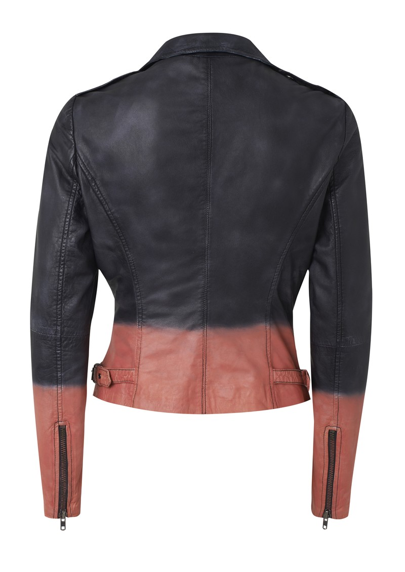Tehmi Tie Dye Leather Jacket - Black & Coral main image