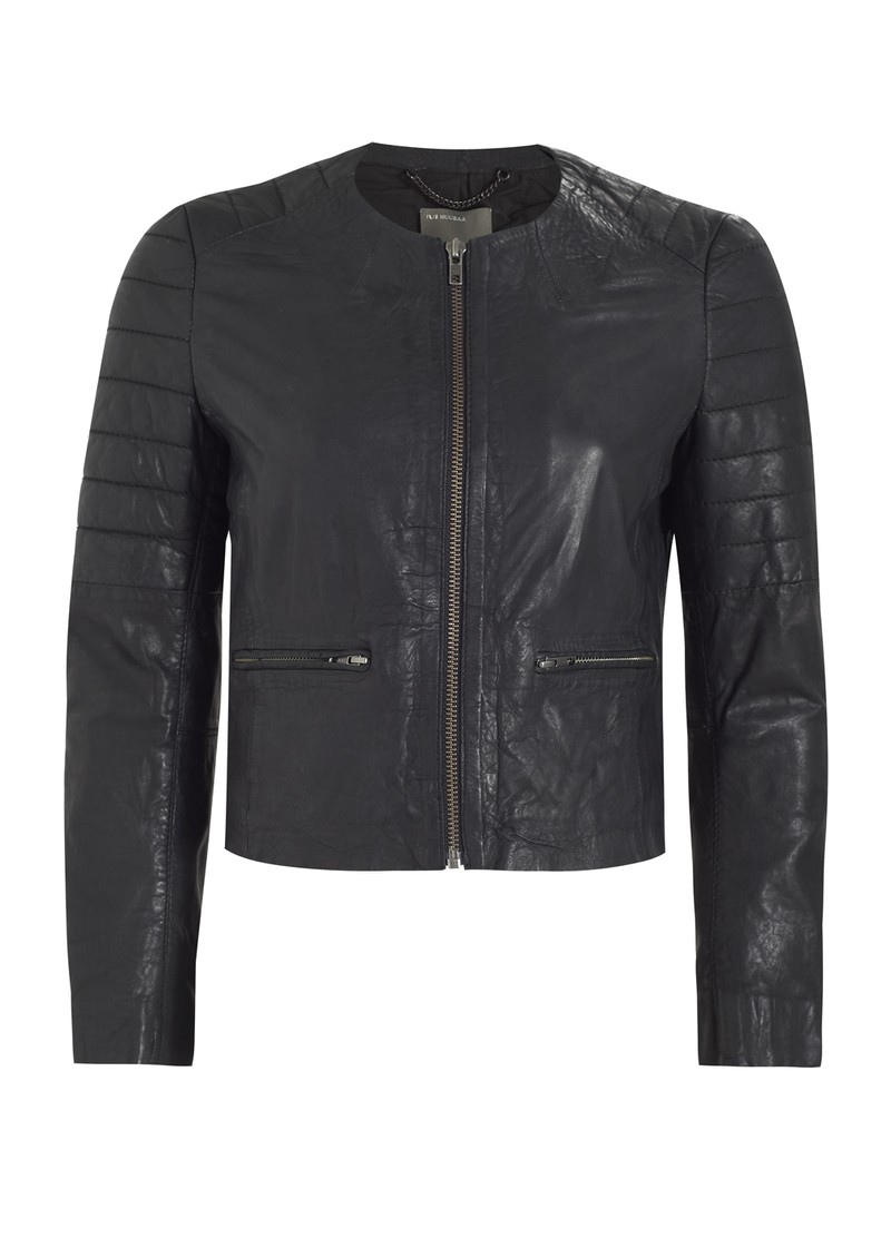 Zomsa Quilted Leather Jacket - Black main image
