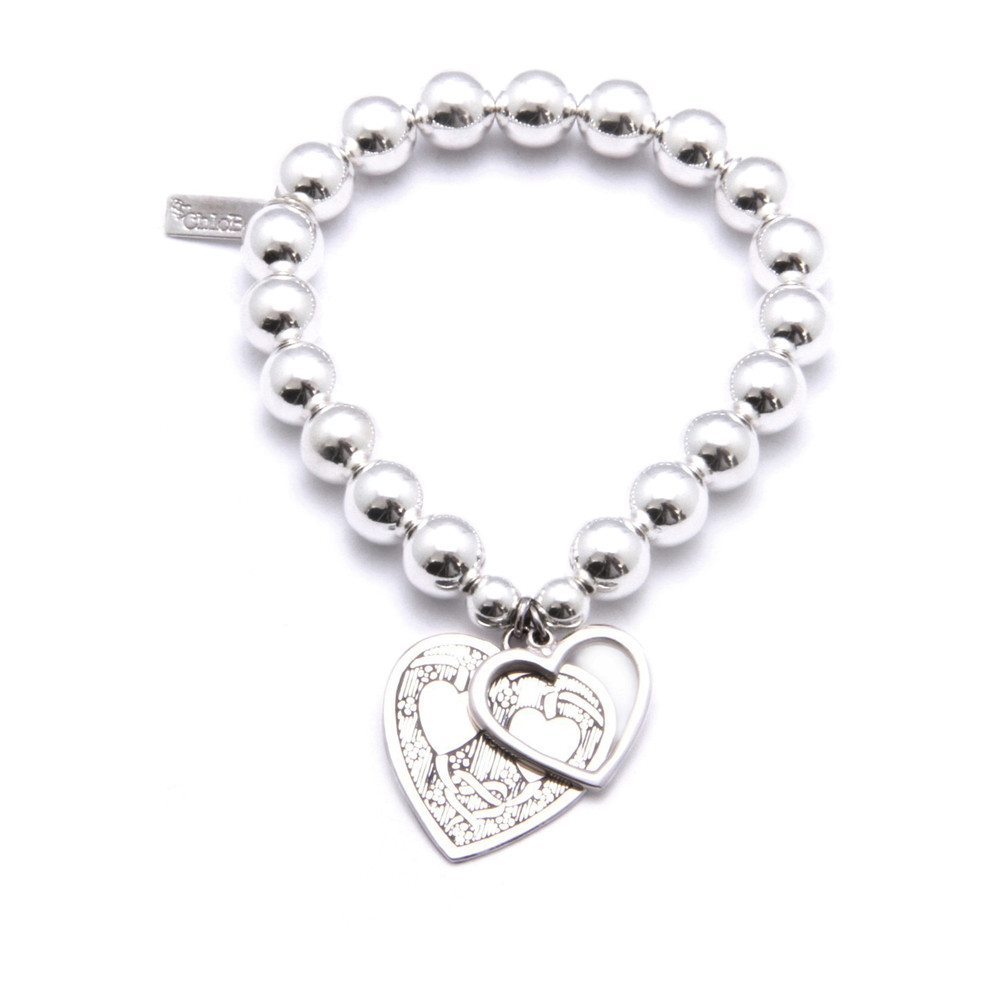 Medium Ball Bracelet with Decorated and Open Heart Charms - Silver