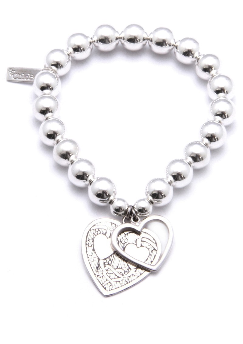 ChloBo Medium Ball Bracelet with Decorated and Open Heart Charms - Silver main image
