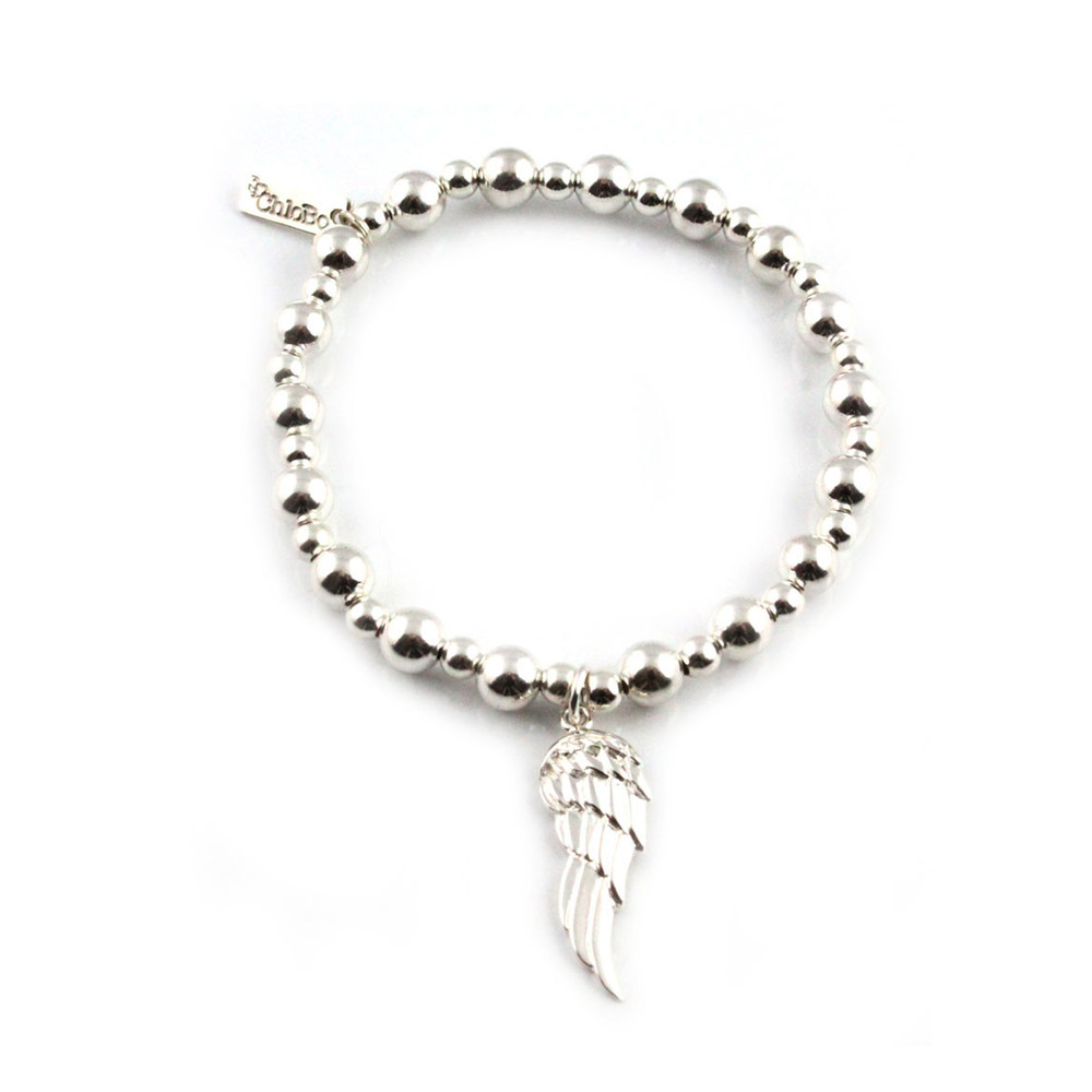 Mini Small Ball Bracelet with Angel Wing Charm  Silver