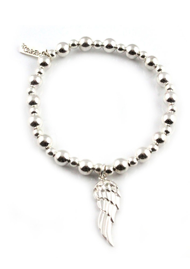 Mini Small Ball Bracelet with Angel Wing Charm - Silver main image
